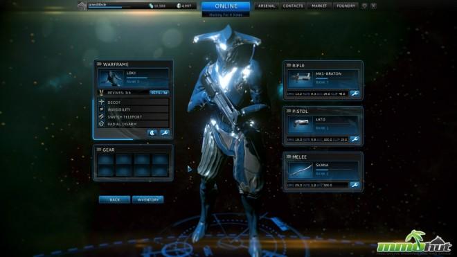 Une Warframe sur l'écran de sélection de son équipement